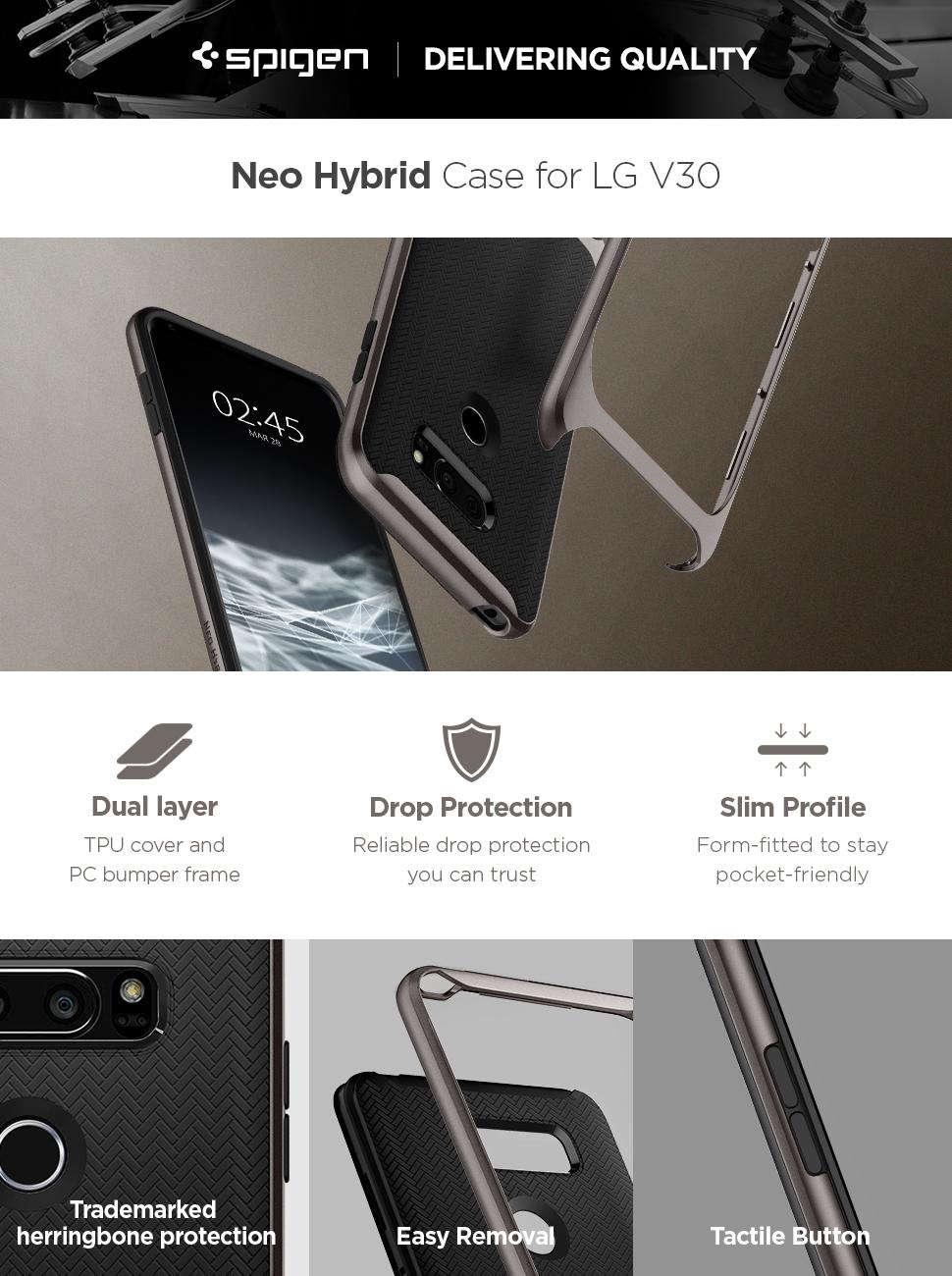 new style 47f16 e90a3 Spigen Neo Hybrid Designed for LG V30 / V30S / V30 Plus Case (2017) -  Gunmetal