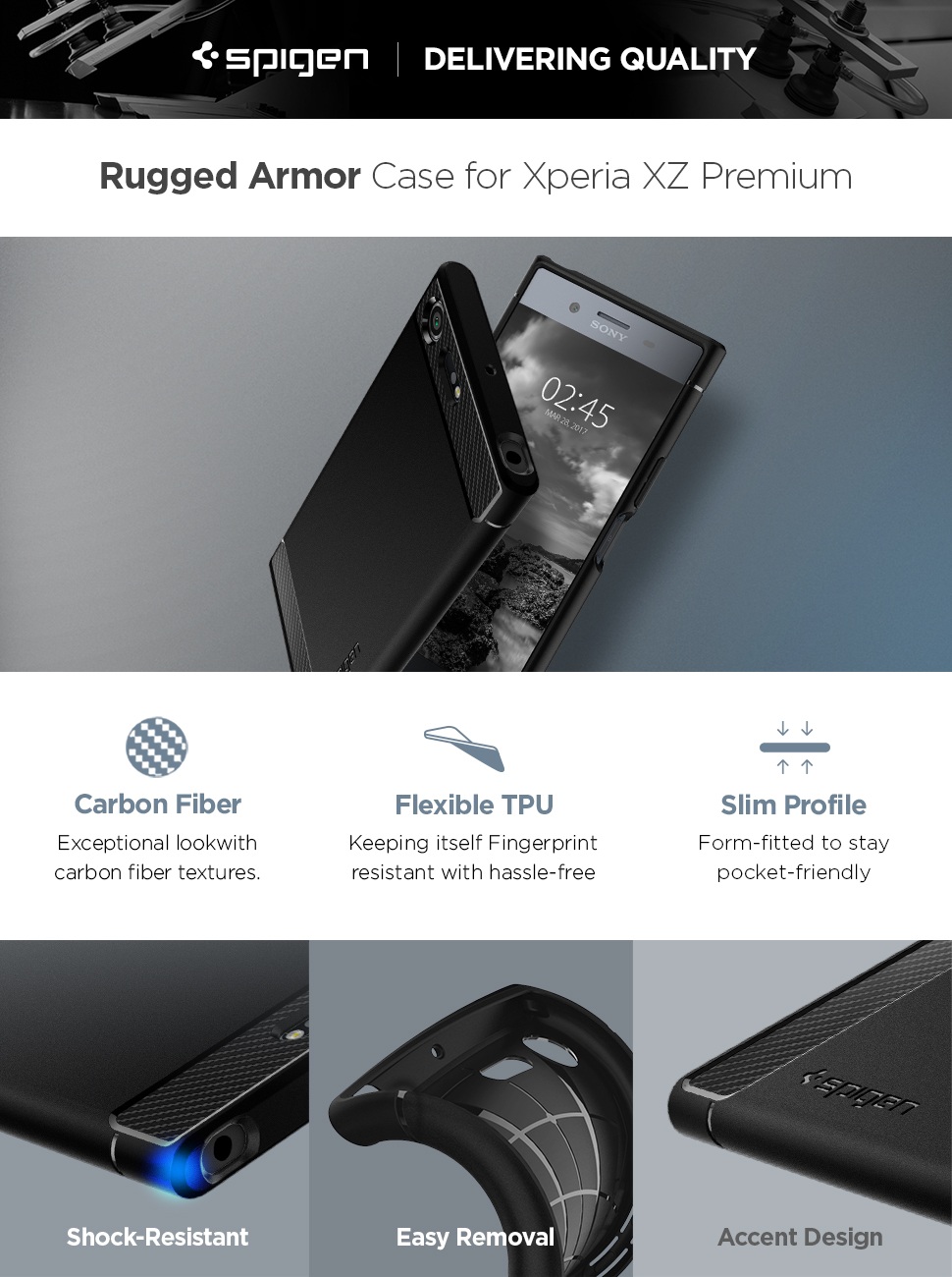 Spigen Rugged Armor Designed for Sony Xperia XZ Premium Case (2017) - Black