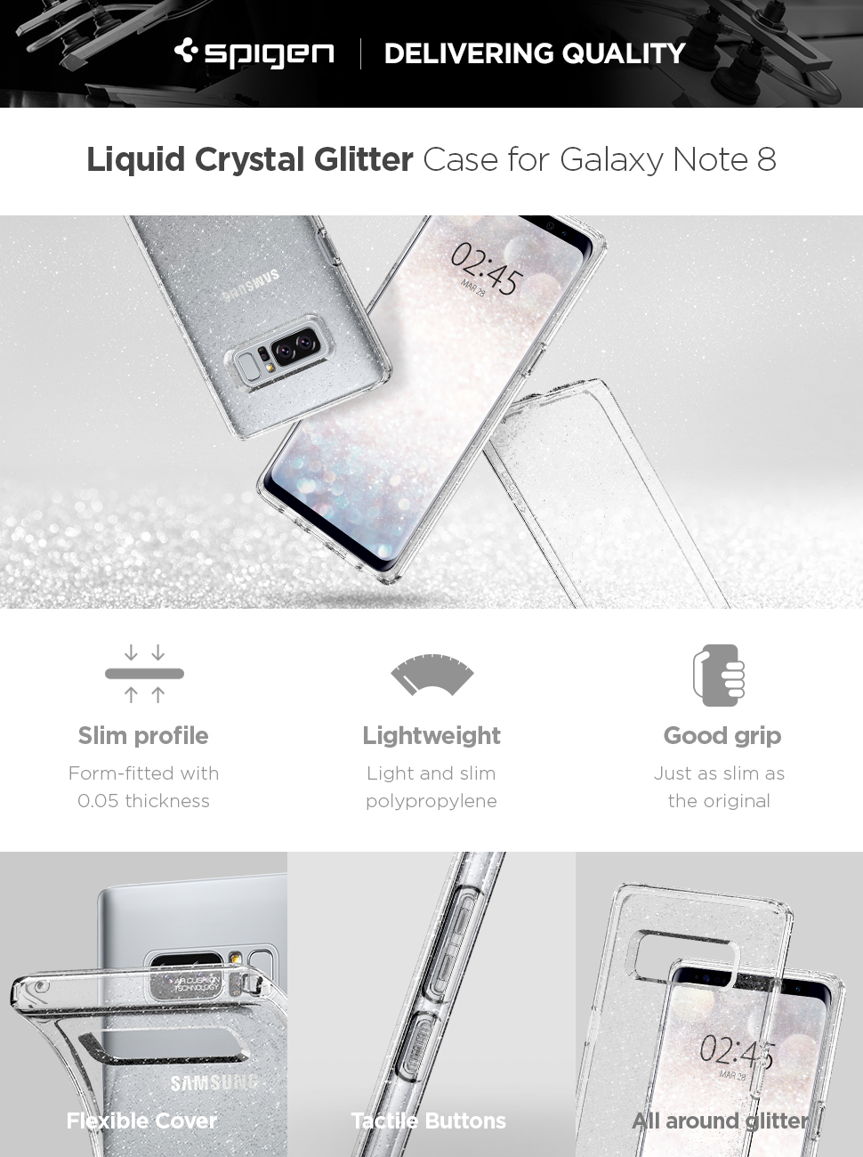 on sale 539e0 2afe5 Spigen Liquid Crystal Designed for Samsung Galaxy Note 8 Case (2017) -  Glitter Crystal Quartz