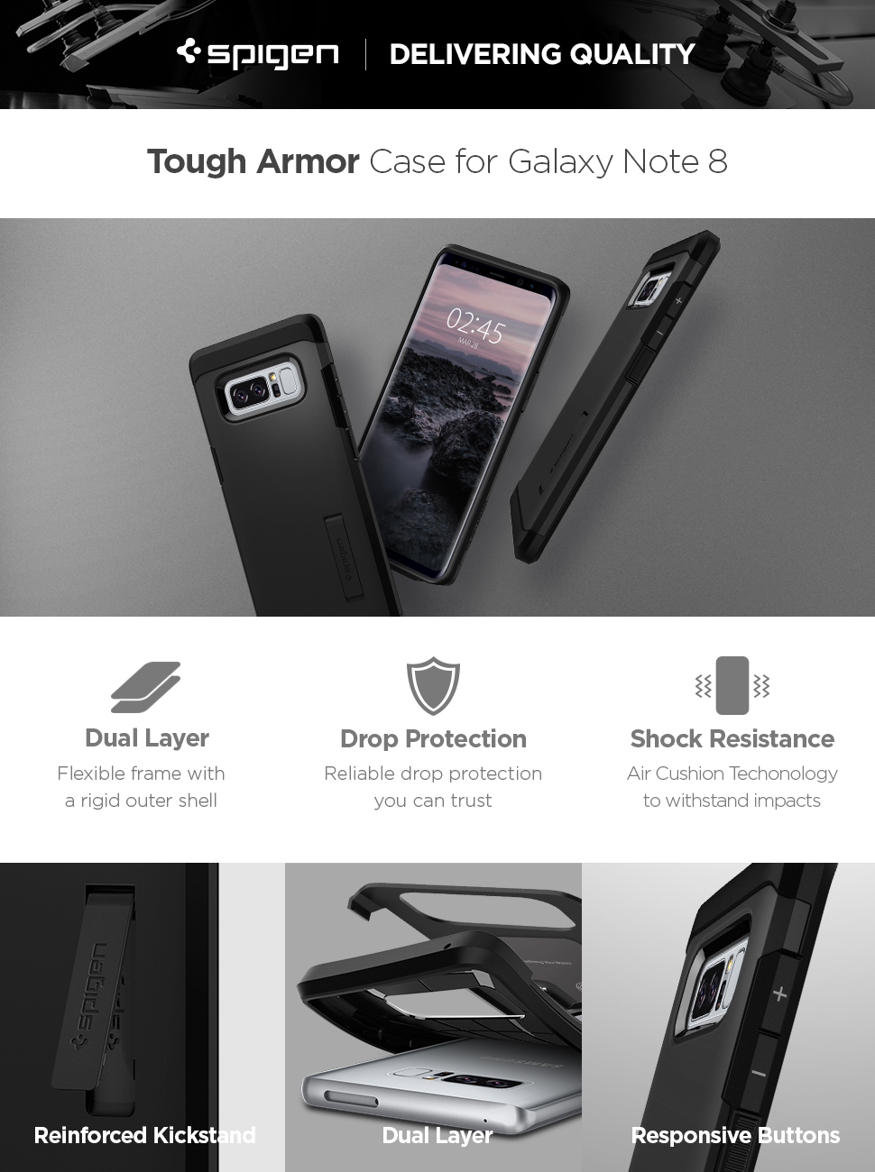 Spigen Tough Armor Galaxy Note 8 Case With Kickstand And Rugged For S8 Black Samsung
