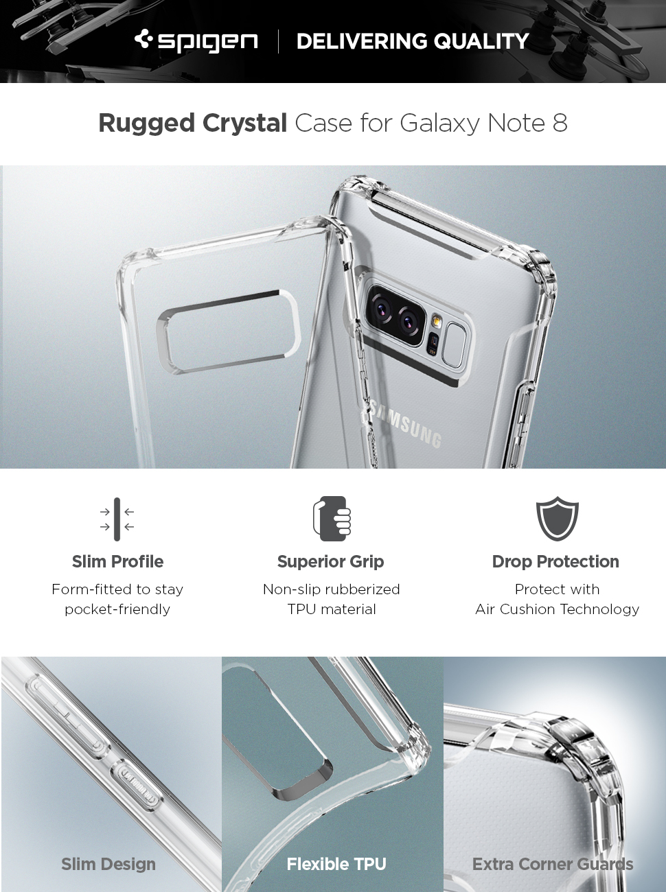 Spigen Rugged Crystal Galaxy Note 8 Case With Clear Back Hybrid For Samsung
