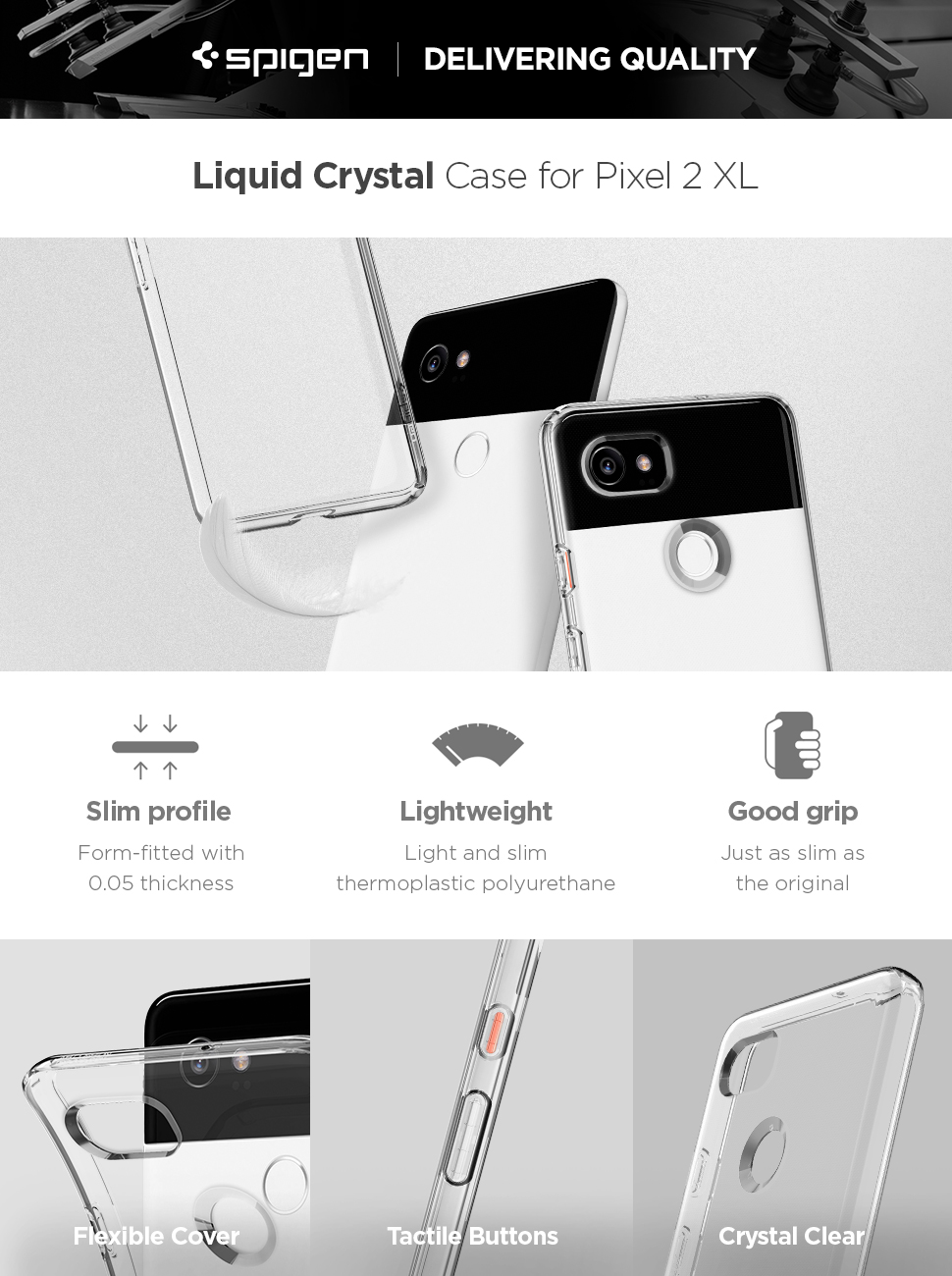 new product b496f b3bba Spigen Liquid Crystal Designed for Google Pixel 2 XL Case (2017) - Crystal  Clear