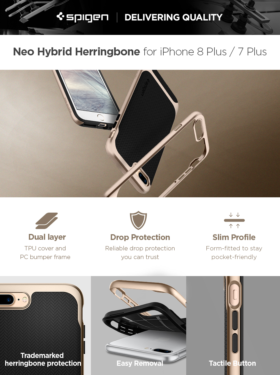 competitive price fcafc 64096 Spigen Neo Hybrid Designed for Apple iPhone 8 Plus Case (2017) / Designed  for iPhone 7 Plus Case (2016) - Black & Champagne Gold