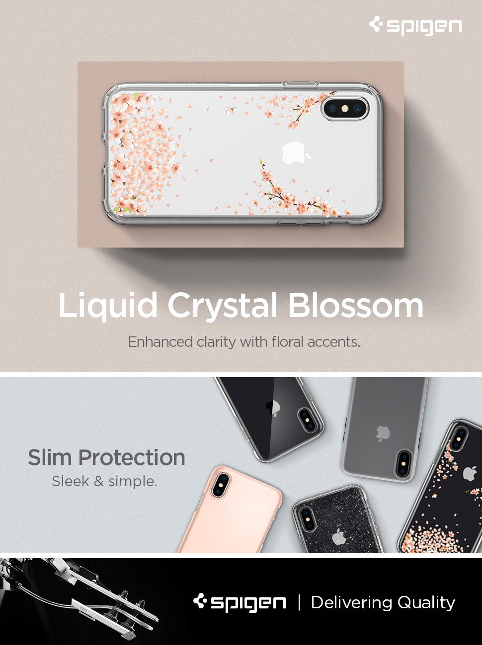 hot sale online 385f1 ea462 Spigen Liquid Crystal Designed for Apple iPhone Xs Case (2018) / Designed  for Apple iPhone X Case (2017) - Blossom Crystal Clear