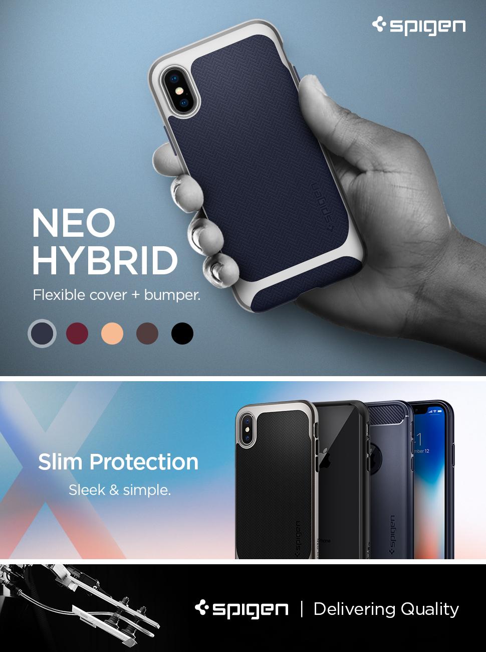 Spigen Neo Hybrid Iphone X Case Herringbone With Classic One Aluminium Original Gray Apple