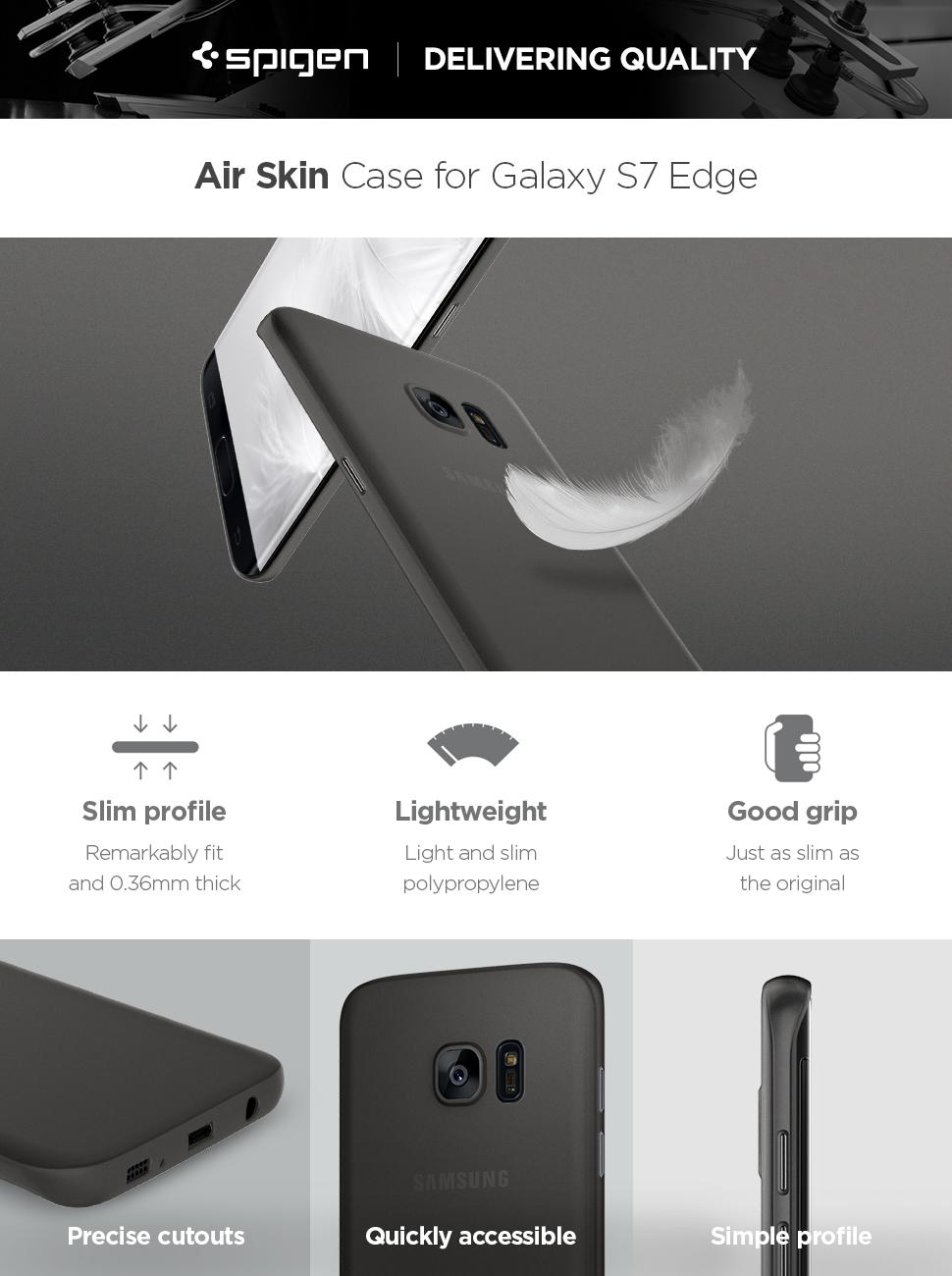 Spigen Air Skin Galaxy S7 Edge Case With Semi Samsung Carbon