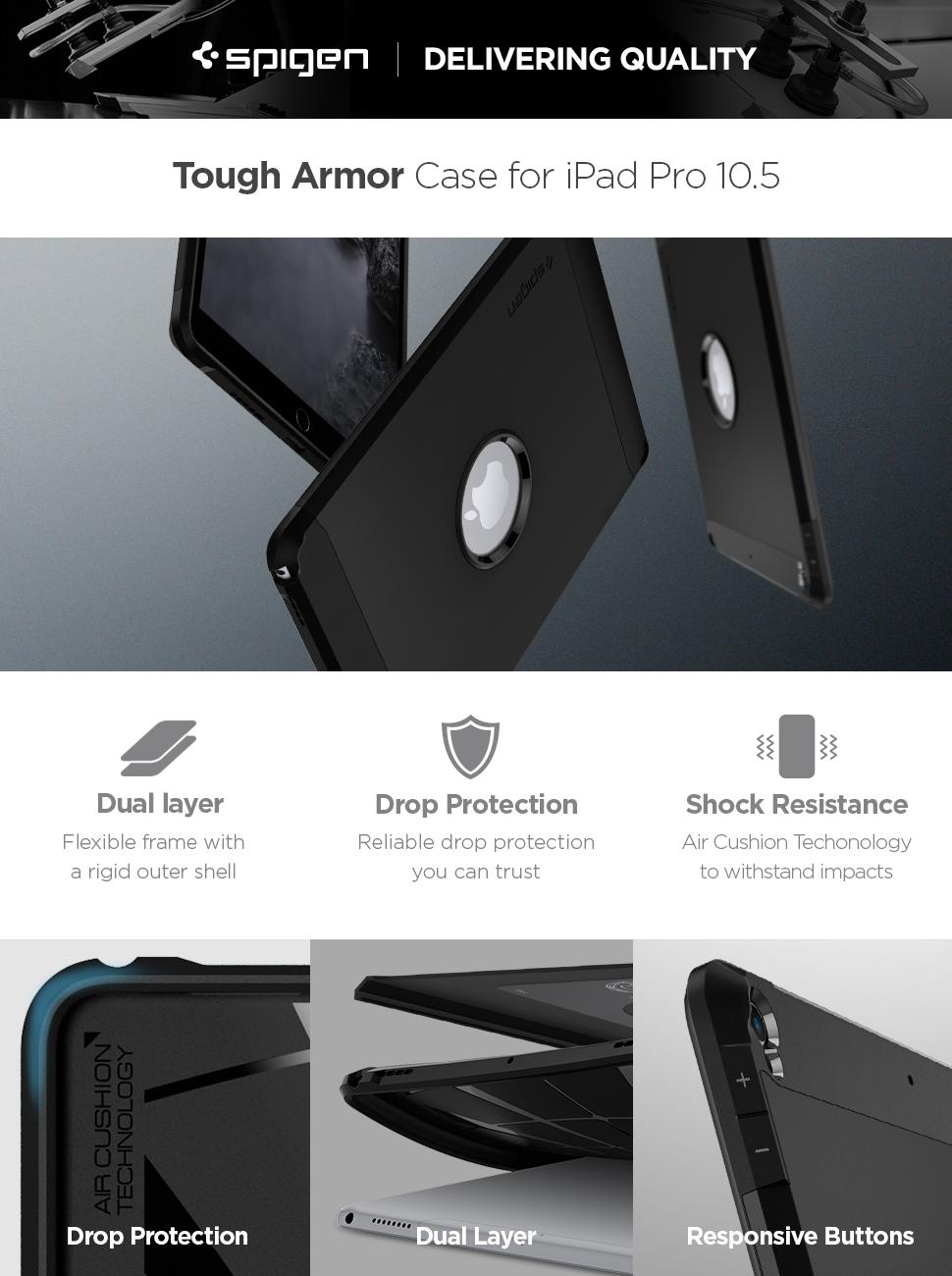 reputable site 9a467 f8e94 Spigen Tough Armor Designed for iPad Pro 10.5 Case (2017) - Black