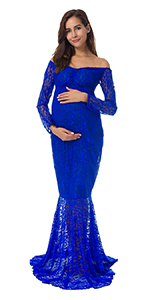 44ae16e8dff JustVH Maternity Elegant Fitted Gown Off Shoulder Ruffles Long ...