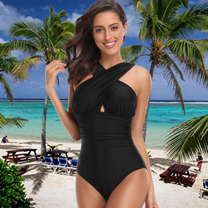 db1890a72a9 W YOU DI AN Women's Swimsuits One Piece Tummy Control Front Cross ...