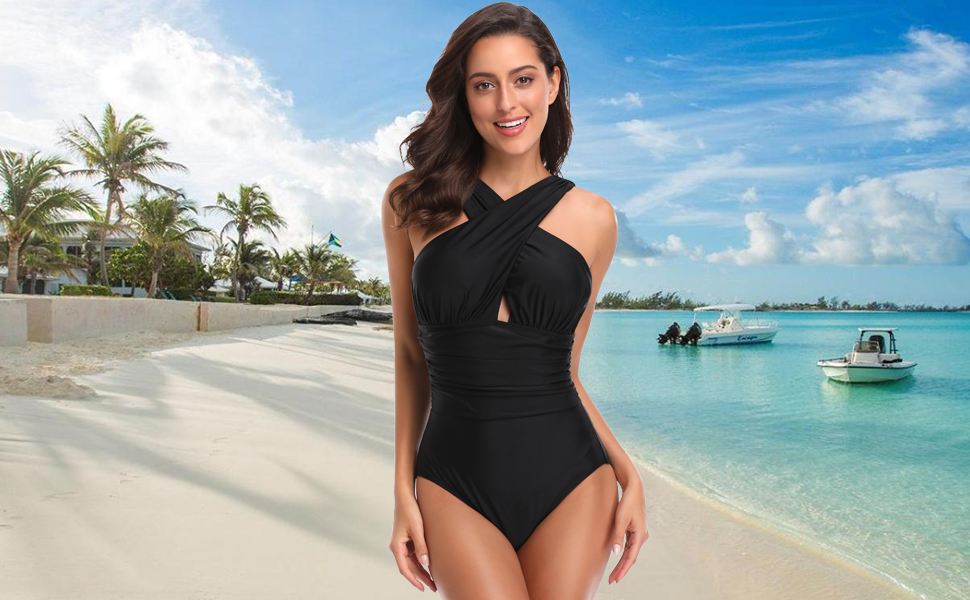 W YOU DI AN Womens Swimsuits One Piece Tummy Control Front Cross Backless Swimsuit Bathing Suit