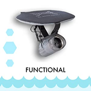 Flat seat pad with a water bottle holder dangling under it on straps on white background