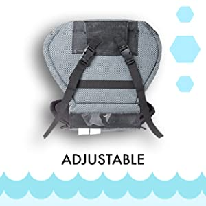 Seat pad with back, facing backwards with adjustable straps and clips on the back