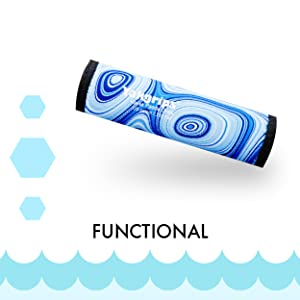 """Picture of Blue Wave Yakgrip for Take-apart Paddles next to the word """"Functional""""."""