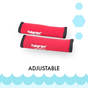 """Picture of Red Yakgrip for Solid Shaft Paddles next to the word """"Adjustable""""."""
