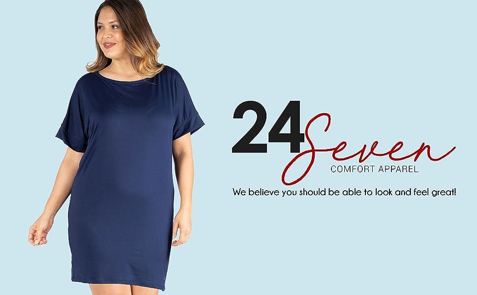 f1e6ff26ad8b1 24seven Comfort Apparel Loose Fitting Plus Size T Shirt Dress - Made ...