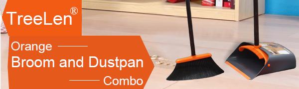 Orange Broom and Dustpan