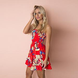 8f8245e4ebf Womens Floral Strapless Mini Skater Dress Pleated Tube Dresses(M ...