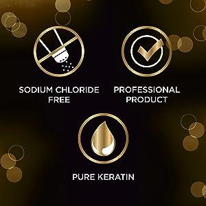 كلوريد الصوديوم ، والمنتجات المهنية والكيراتين النقي