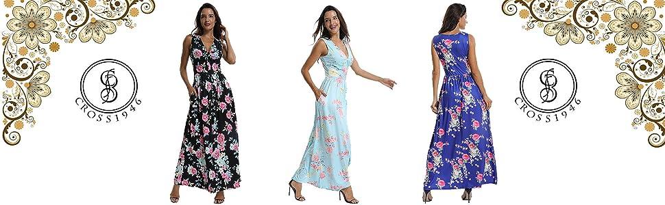 2e329745ff92 CROSS1946 Women s Sleeveless Floral Print Maxi Dress Tank Top V Neck ...