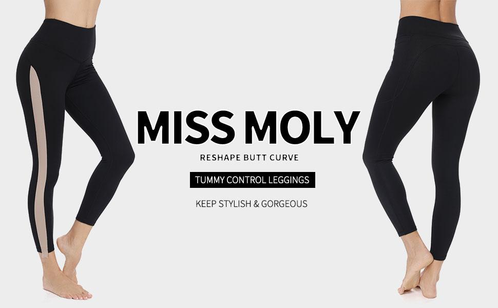 Amazon.com: MISS MOLY - Mallas de yoga para mujer, cintura ...