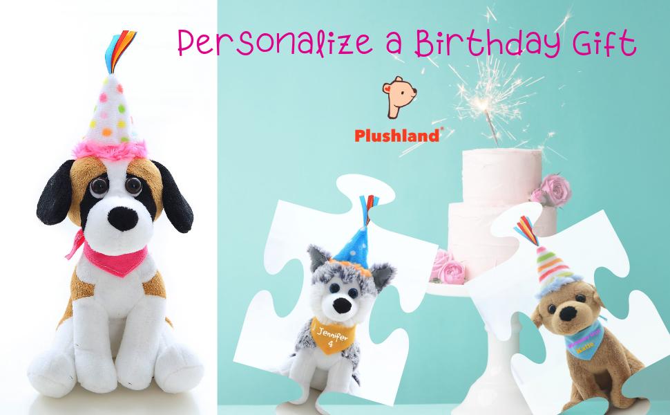 "Plushland Personalized Puppy Dog Plush Animal Adorable Birthday Gift for Kids 8/"""