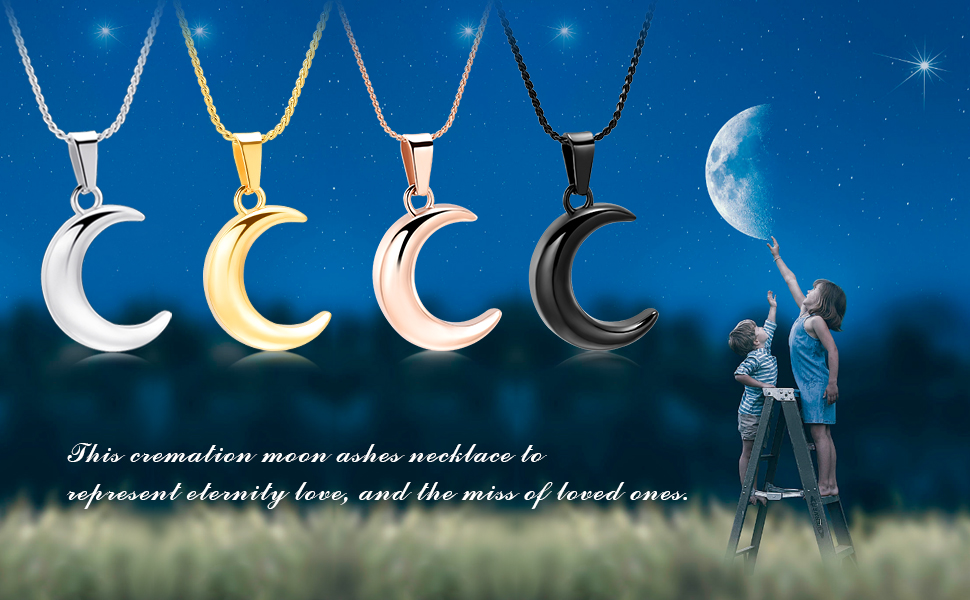 Moon urn neckalce