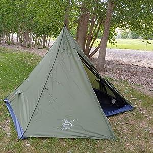 trekking pole tent, 4 man trekking pole tent, large backpacking tent, easy to use backpacking tent