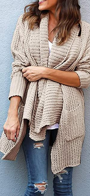 Zesica Womens Long Sleeve Open Front Cable Knit Loose Chunky
