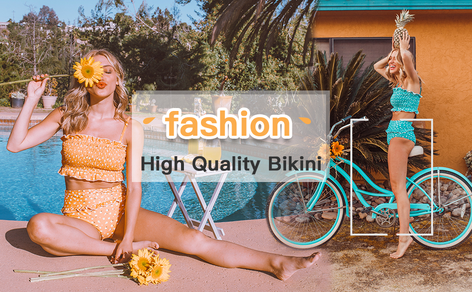 ZESICA Womens Summer Floral Printed High Waist Ruched Smocked Beach Bikini Sets Swimsuit Bathing Suit