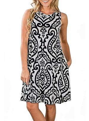 c75a0ca4558c ZESICA Women s Summer Sleeveless Damask Print Pocket Loose T-Shirt ...