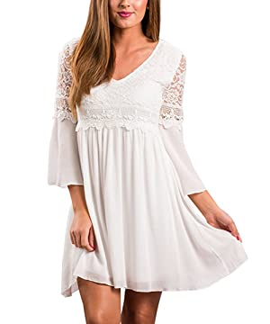 Womens V Neck Bell Sleeve Lace Patchwork Chiffon Dress