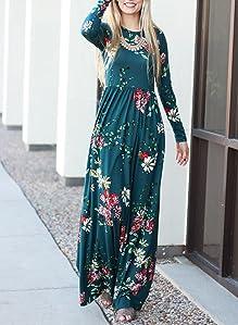 Zesica Women S Floral Print Long Sleeve Pockets Empire Waist Pleated