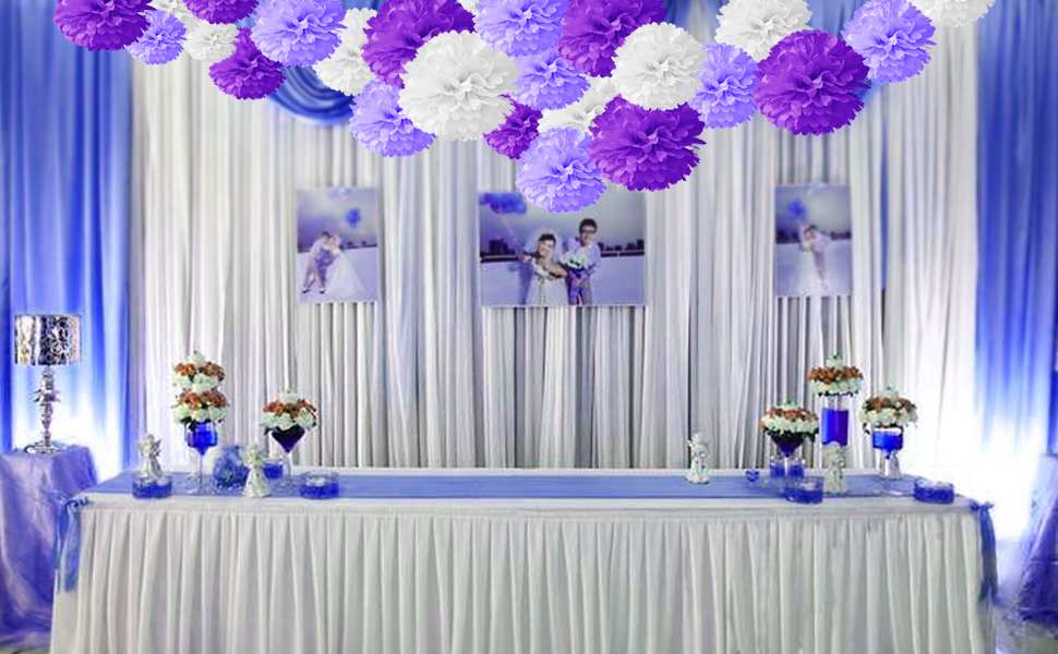 Amazon 18pcs tissue hanging paper pom poms hmxpls flower ball 18pcs tissue hanging paper pom poms hmxpls flower ball wedding party outdoor decoration premium tissue paper pom pom flowers craft kit purple white junglespirit Gallery