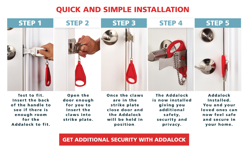 Get additional security for your home airbnb vacation travel and school with Addalock