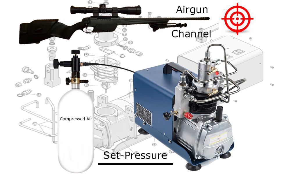 110V 30MPa 4500PSI 2 5HP Set-Pressure Air Compressor Pump PCP Electric High  Pressure System Rifle
