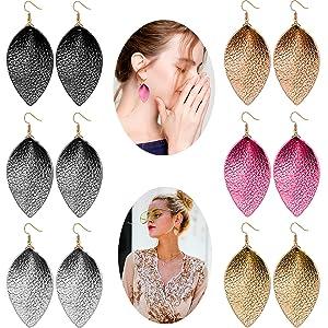 U-Power 3 Pairs Genuine Leather Petal Teardrop Earrings Boho Shard Lattice Leaf Dangle Pierced Earrings for Women Girls Christmas Valentines Day Jewelry