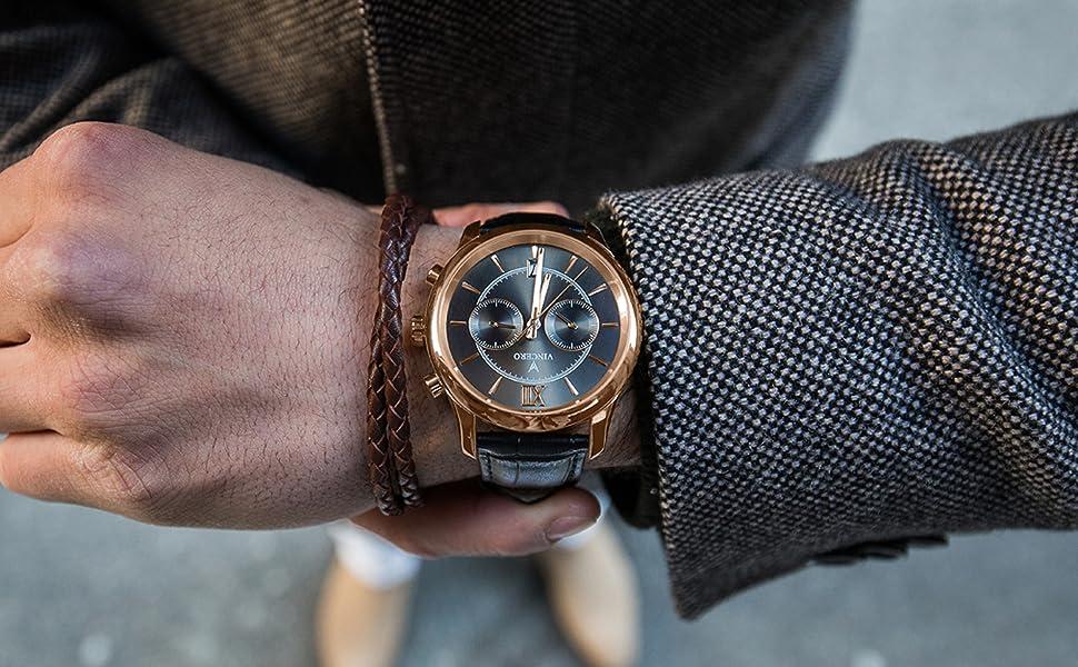 7d305483baa8 Amazon.com  Vincero Luxury Men s Bellwether Wrist Watch — Rose Gold ...