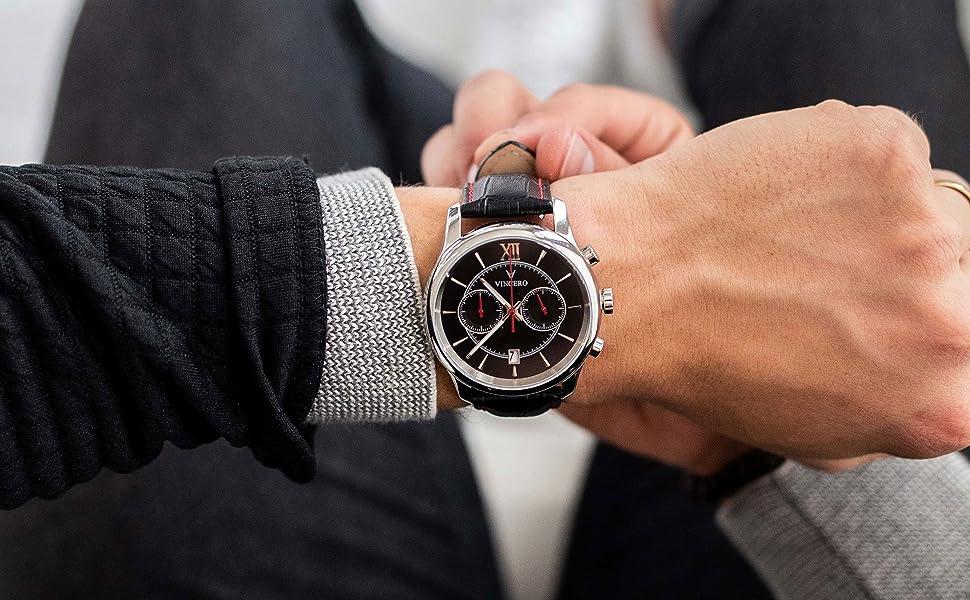 b92b6ea47a7d Amazon.com  Vincero Luxury Men s Bellwether Wrist Watch — Black Red ...