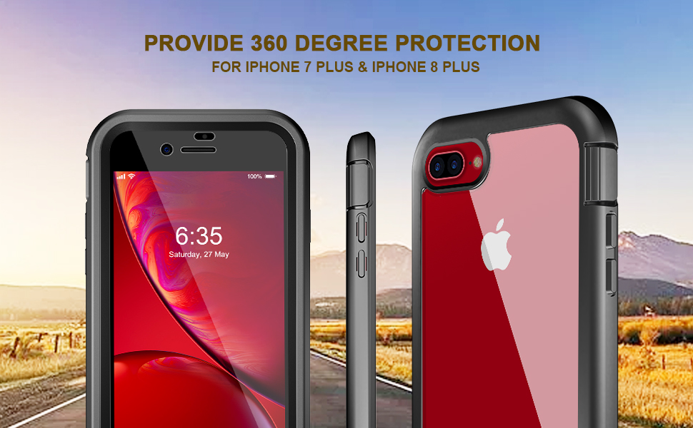 Clear Designed for iPhone 7 Plus Case/iPhone 8 Plus Case,EONFINE Full-Body Heavy Duty with Built-in Screen Protector Rugged Clear Shockproof Case for ...