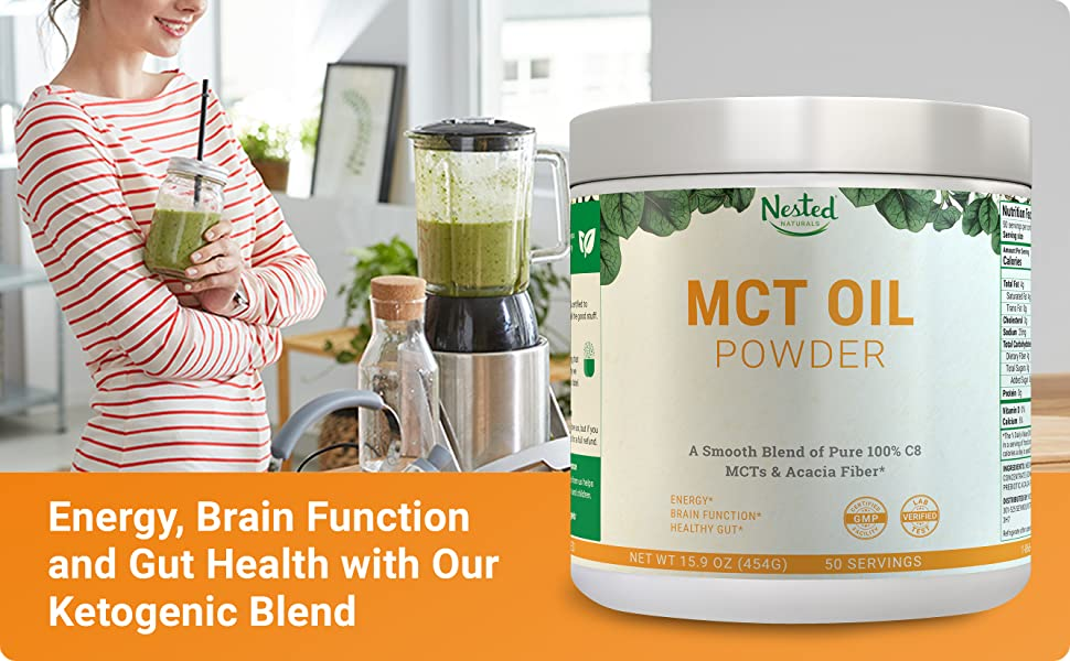 Nestd Naturals MCT Oil Powder - Keto Friendly Smoothie Mix for Clean Energy Boost