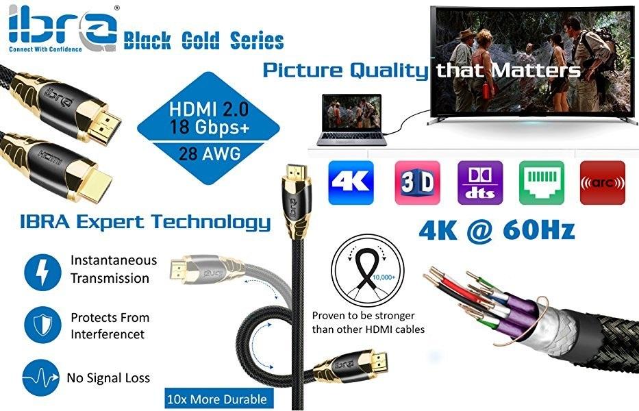 28ft HDMI High Speed Cable v2.0//1.4a 18Gbps 2160p 3D TV PS4 Sky HD 4K@60Hz Ultra HD Ethernet Audio Return Virgin BT PC Laptop Nylon Braided IBRA Black Gold