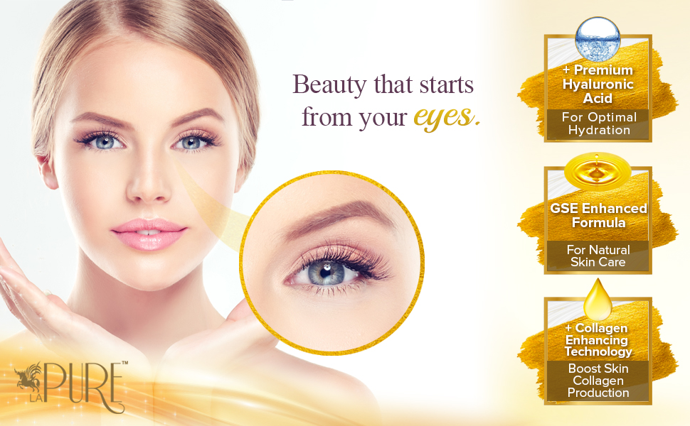 LA PURE 24K Gold Eye Treatment Mask | Under Eye Patches, Anti-Wrinkle, Under Eye Bags Treatment