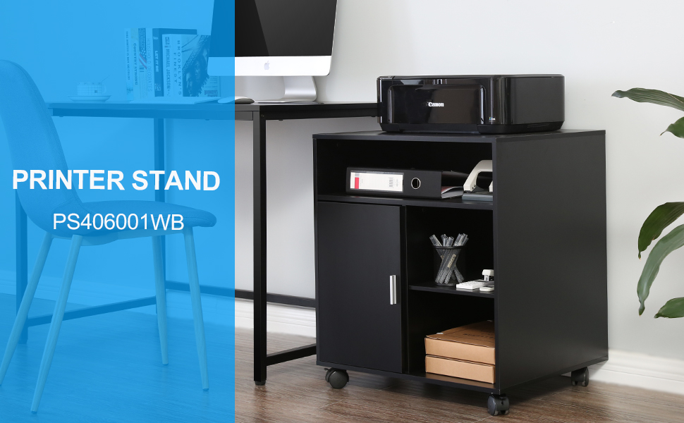 Amazon Com Fitueyes Printer Stand Wood Work Cart With Wheels Black Ps406001wb Office Products