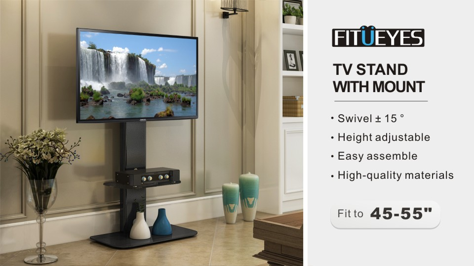 Fitueyes Tv Stand With Swivel Mount For Flat Screen Lcd Led Plasma Floor Tv Stand