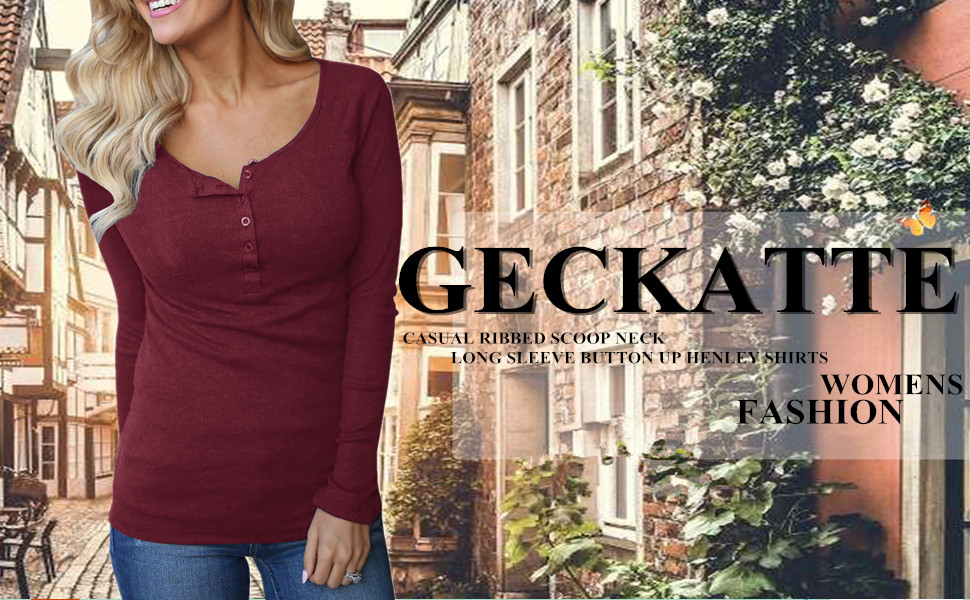 9a3321b4adb00c Geckatte Womens Henley Shirts Long Sleeve Casual Ribbed Scoop Neck Button  Up Thermal Cotton Top