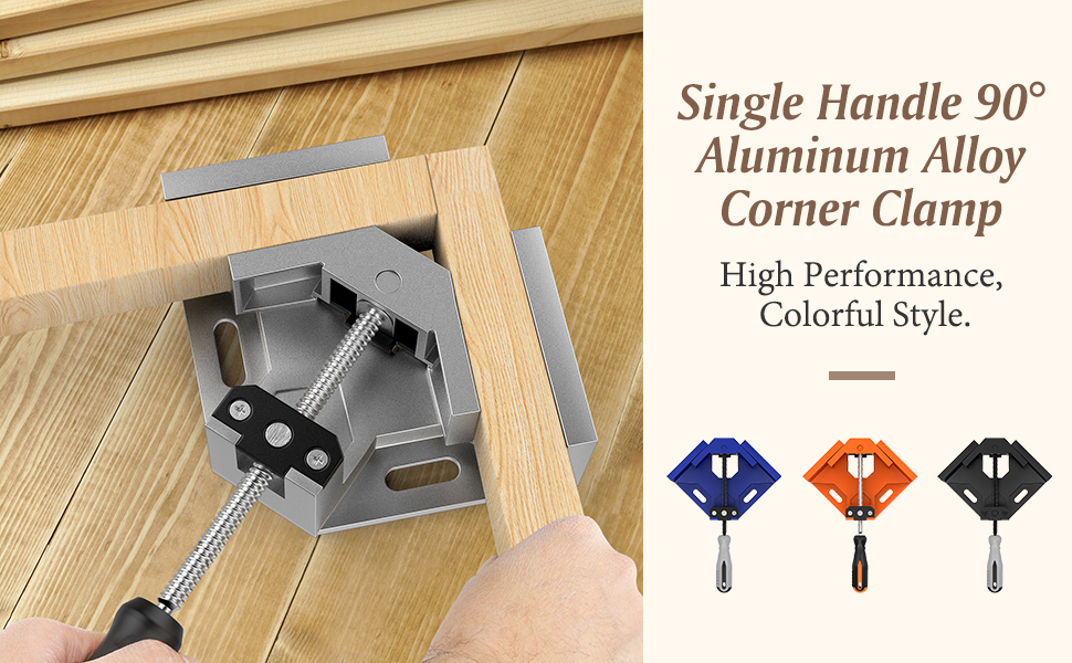 Blue Housolution Right Angle Clamp Aluminum Alloy Right Angle Clip Clamp Tool Woodworking Photo Frame Vise Holder with Adjustable Swing Jaw Single Handle 90/°Corner Clamp