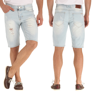 Ripped Distressed Straight Fit Denim Shorts