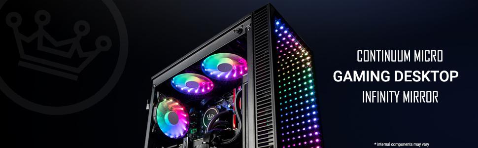 CUK Continuum Micro mATX Infinity Mirror Gaming Home Desktop RGB lighting effect