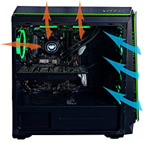 CUK Mantis Full ATX Tower Gaming Desktop Case with 6 Green Halo Fans Pre-Installed ATX, Micro-ATX, ITX Motherboard Support