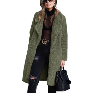 Lapel Long Warm Fleece Outerwear